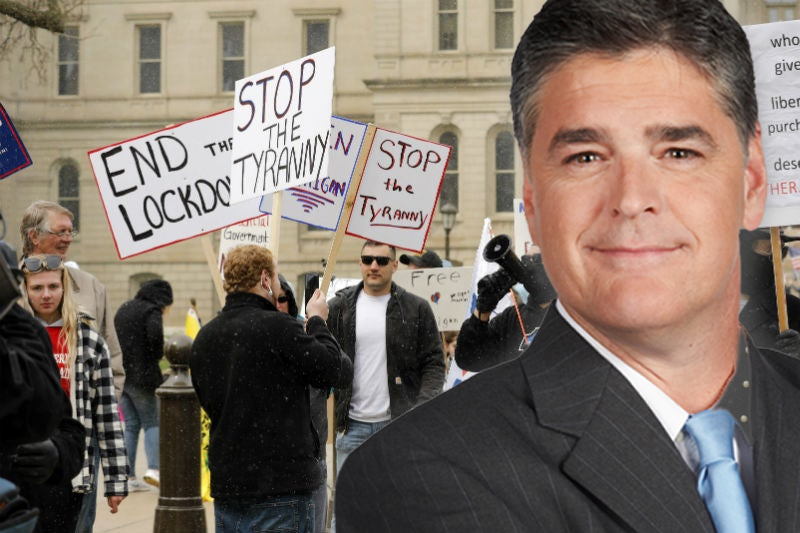 Fox News host Sean Hannity recently criticized armed protestors who demonstrated outside the capital building against Gov. Gretchen Whitmer's lockdown order. Many of the protesters were carrying assault-style rifles strapped around their backs.